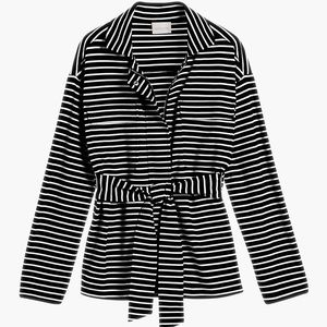 Chico's Belted Striped Soft Knit Jacket